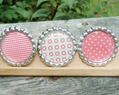 HALF PRICE Polka Dots and Patterns, Red White Green, Set of 3, Bottlecap Magnets