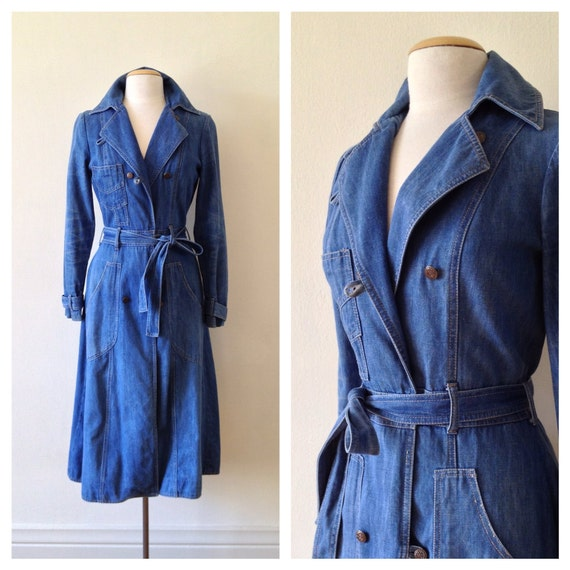denim trench coat / 70s small fitted midi coat / 1970s cotton