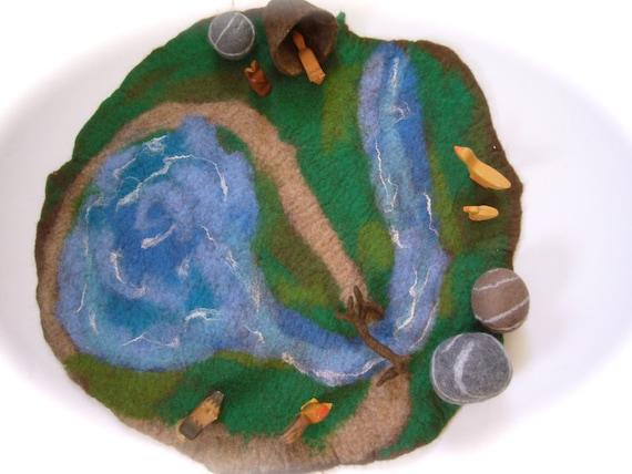 xxl paysage aquatique tapis de jeu tapis de sol humide feutr. Black Bedroom Furniture Sets. Home Design Ideas