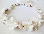 Custom for J Schmid-Mermaid's Dream Bridal Crown-Beach Wedding Crown- Beach Wedding Hair Crown-Crown of Sea Shells-Ivory Flower CrownT
