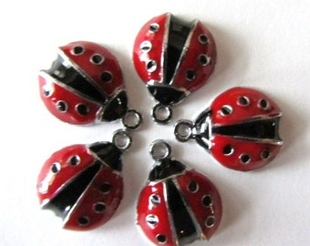 5 RED LADYBUG BEETLE Charm Pendants