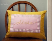 Personalized Hand Embroidered Quilted Pillow Cover 12x16 - Made to Order