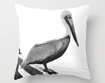 Beach Pillow Case - Pelican Pillow - Ocean Pillow Cover - Bird Pillow Cover - Ocean Decor - Beach decor - Ocean Throw Pillow - Beach Pillow
