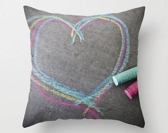 Chalk Pillow - Children's Pillow Case - Drawing Heart Pillow - 16x16 18x18 20x20 Pillow Cover