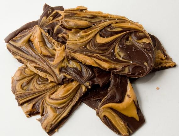 FREE SHIPPING - Peanut Butter Chocolate Swirl Bark - 1 lb.