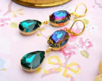Blue Green Retro Earrings, Vintage Crystal Dangle Earrings, Repurposed Earrings, Dangle Estate Earrings, Retro Jewelry, Vintage Jewelry
