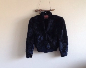 All black rabbit fur jacket