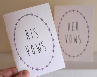 Wedding Vow Books - Jotter Size Vow Books