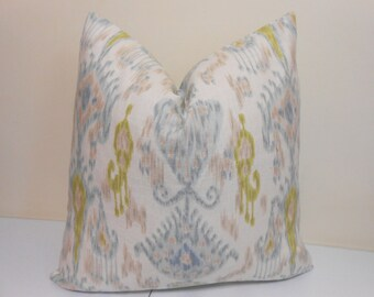 Robert Allen Khanjali Glacier Pllow Cover - pale aqua, taupe and yellowy-lime Ikat Pillow Cover- Ikat Accent Pillow  - 20 x 20 inch