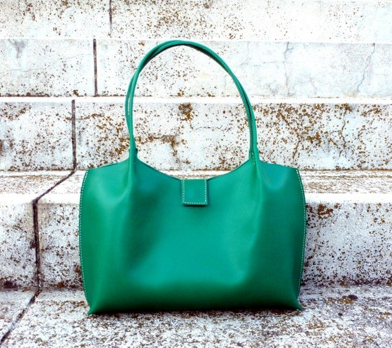 Emerald green leather tote bag leather shopper leather
