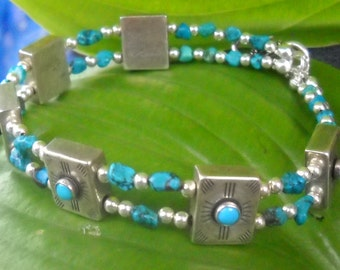 Sterling  Turquoise Nugget Artisan created bracelet