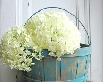 Vintage Wood Basket Apple Basket   Orchard Basket   Blue Country Cottage Decor  Wedding Decor