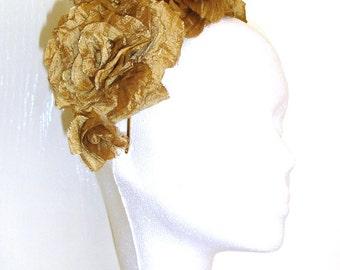 Bridal Silk Flowers, Bridal Headpiece, Antique Gold Silk Flower Hair Accessory