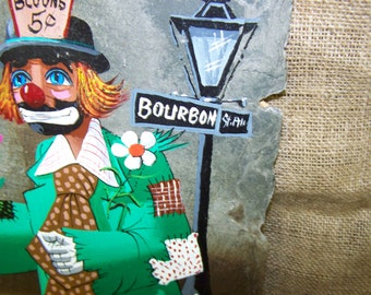 Laiche Clown Painting Slate Painting Clown Painting New Orleans 1982 Painting