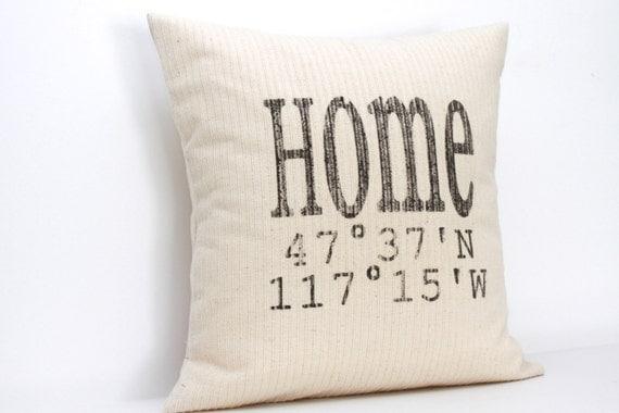 Longitude and Latitude Map Pillow - coverLove Etsy Shop
