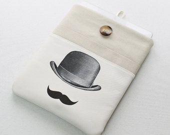 iPad Sleeve, iPad Case, iPad Cover Case, padded, Mustache and gentlemans hat front pocket