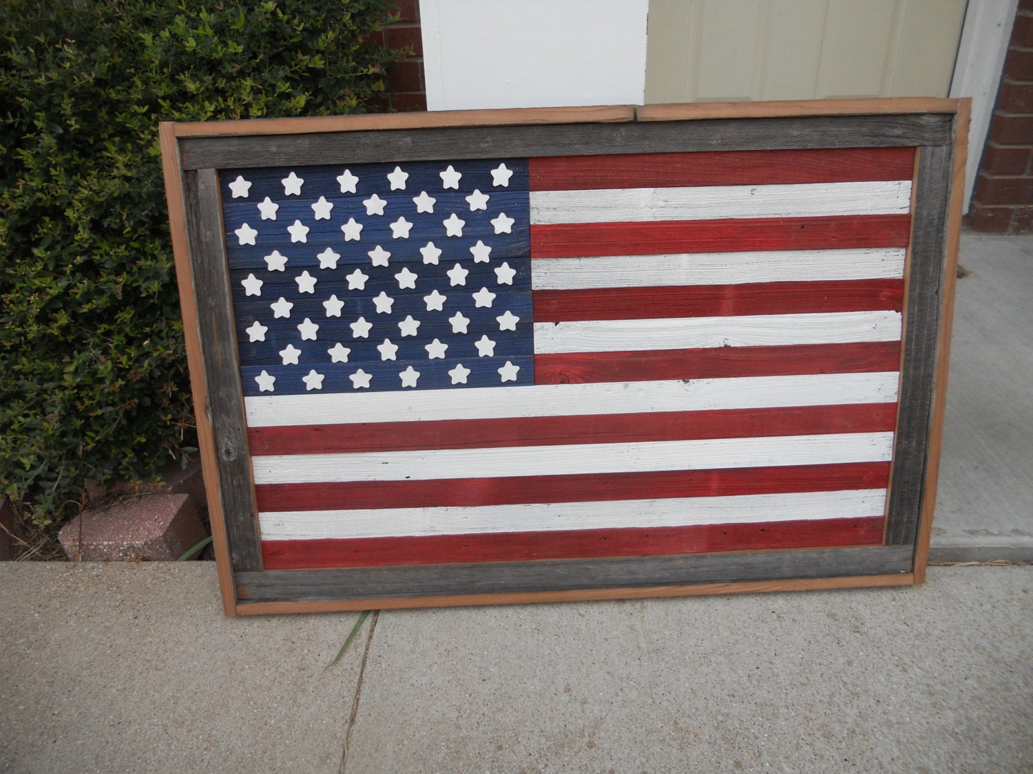 Wood flags wall decor : Large rustic wood american flag distressed reclaimed