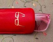 vtg faux leather padded glasses case