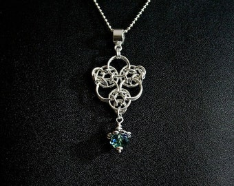 Sterling Silver Chainmaille Pendant with Ernite Crystal