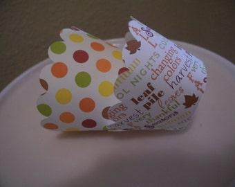 Fall Cupcake Wrappers  Polka Dot   Set of 12