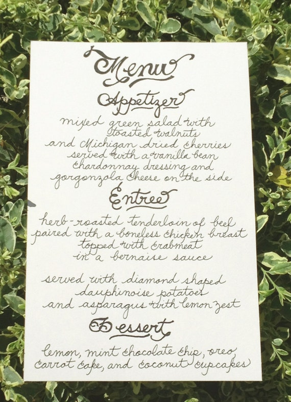 ... Calligraphy Menu - Signs, Table Tents, Place Cards, Dessert or Bar