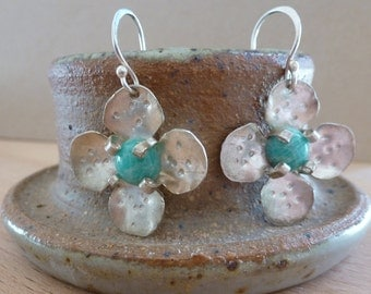 Sterling Silver Amazonite Petal Earrings