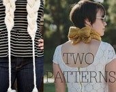TWO KNITTING PATTERNS Holla Knits Cabled Scarf Kerchief Cowl Bow Collection