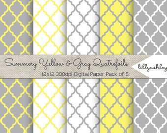 Summery Yellow & Gray Quatrefoil Digital Paper Pack of 5--12x12 JPG Downloadable Papers Quatrefoil Pattern in Yellow and Gray