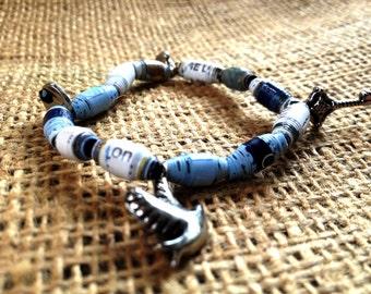 Magazine Bead Bracelet - Charm Bracelet - Recycled - Upcycled - Eco-friendly - Biodegradable - Paper Bead Bracelet
