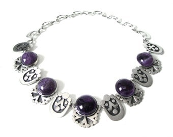 Vintage Sterling Silver Set With Amethyst Choker Necklace Made In Mexico