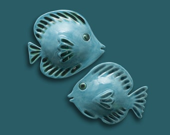 Blue Fish  set  of 2