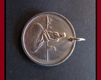 Classic Antique (1966 Vintage Denmark, Copenhagen Tram Token Coin - Hans Christian Andersen LITTLE MERMAID: for Collection or as a Pendant)
