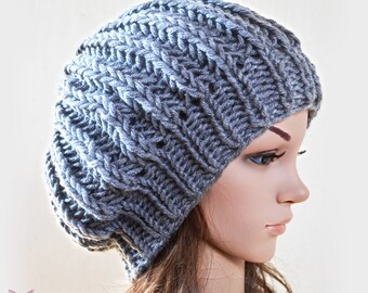 Slouchy beanie hat - GREY (OR Choose Color) - knit - Unisex adults - accessories - Wool Woolen