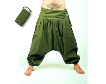 mens cotton linen harem pants casual baggy loose trousers