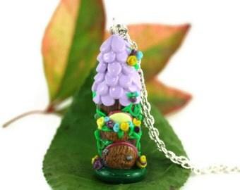Whimsy Fairy House Necklace, Miniature Faerie House Jewelry,  Christmas Ornament, Terrarium Decor, Fairy Garden House, Gnome house