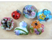 Floral/Garden Collection - Lamp Work Bead Set - 6 pcs Lady Bug, Floral and Butterfly Beads