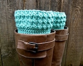 Textured Turquoise Crocheted Boot Cuffs