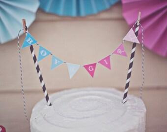 Ombre Gender Reveal Party Printable Cake Banner - Digital Download