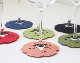 Stemware Coasters set of 6 Mandarin Blossom