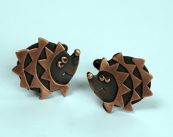 Hedgehog cufflinks in Copper Finish