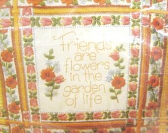 Vintage Cross Stitch Pillow Kit, Friendship