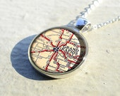 Grand Rapids map resin pendant,map pendant charm,map charm jewelry,Michigan- M0422CP