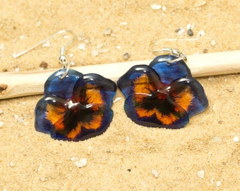 Dark blue and yellow pansy flower earrings. Comes in a gift box