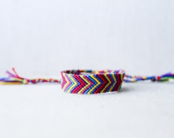 Woven Bracelet Geometric Chevron Multicolored Friendship Bracelet Arrows Triangles