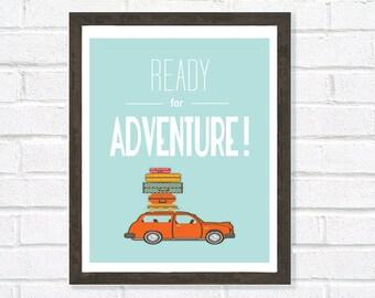 Ready for Adventure, Travel Print, Housewarming Gift, Graduation Gift, Leaving Gift, Home Decor, Blue Wall Art, Car Poster, UK Seller
