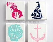 Set Of Four Canvses With Sailboat, Lobster, Clam Shell, And Anchor - Four Nautical Paintings Summer Classics Print