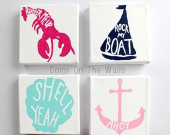 Set Of Four Canvses With Sailboat, Lobster, Clam Shell, And Anchor - Four Nautical Paintings