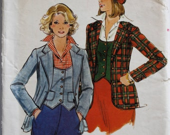 Vintage 1970s Women's Blazer and Vest Sewing Pattern Size 10 Butterick