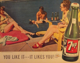 1947 7-UP AD Original Vintage Print Advertisement Retro Magazine Advertising Soda Fountain Wall Art Kitchen Decor