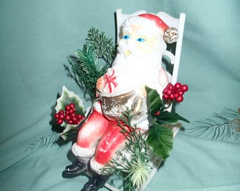 Santa Claus Vintage Christmas decor, old St. Nick, in his rocker, vintage memory piece from the 60s
